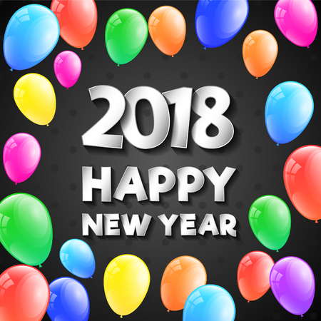 Happy New Year 2018 - banner with colorful balloons.