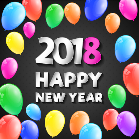 Shiny banner with greetings for Happy New Year 2018. Vector. Иллюстрация
