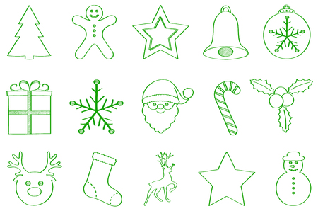 Set of green hand drawn Christmas ornaments. Vector.