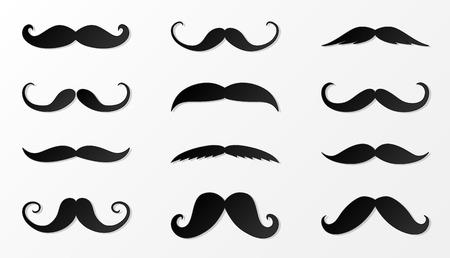 Collection de moustache noire en papier. Vecteur.