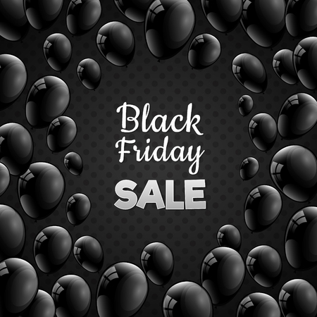 Black Friday - poster with balloons for a sale. Vector.