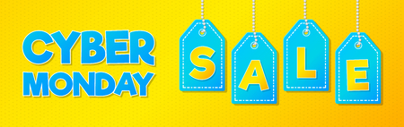 Cyber Monday Sale - colourful and bright advertisement. Vector. Vector Illustration