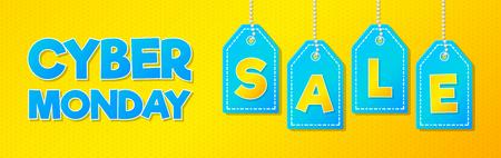Cyber Monday Sale - publicité colorée et lumineuse. Vecteur. Vecteurs