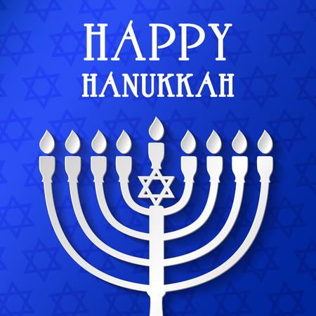 Happy Hanukkah - poster with menorah. Vector.