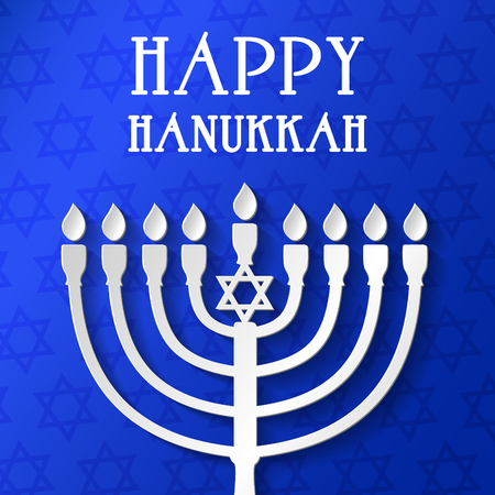 Happy Hanukkah - poster with menorah. Vector.