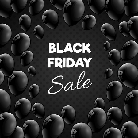 Black Friday Sale banner - shiny advertisement with balloons. Vector.