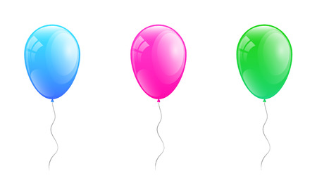 Multicolored helium balloons - collection on white background. Vector. Ilustração