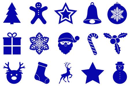 Blue Christmas decoration isolated on white background. Vector. Illustration