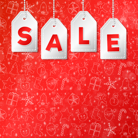 Christmas Sale - shiny poster with copyspace and decorative background. Vector.