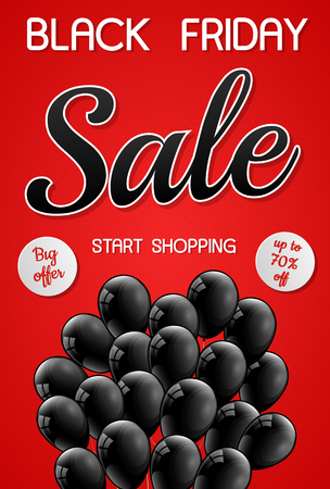 Beautiful poster with shiny helium balloons for Black Friday Sale. Vector.