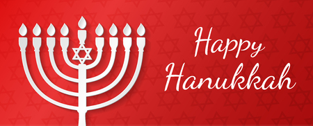 Hanukkah - poster with menorah and wishes. Vector.