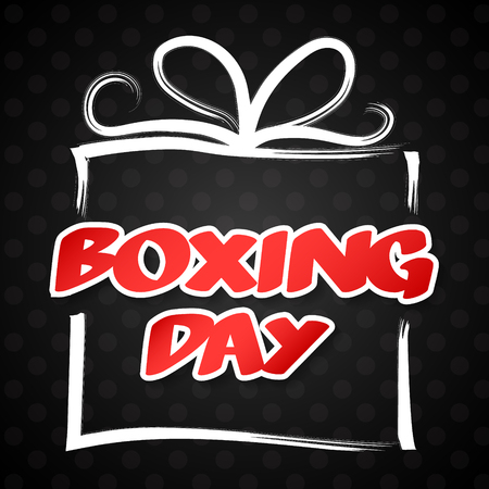 Boxing Day - poster with hand drawn gift box. Vector.