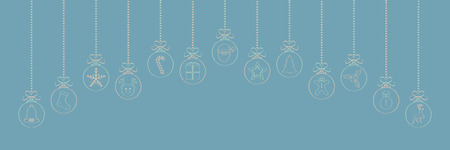 Hanging Christmas balls with hand drawn decorations. Vector. Vettoriali