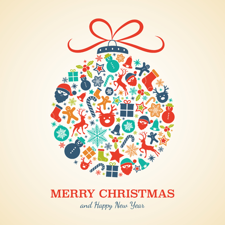 Colourful Christmas ball with decorations and greeting. Vector. Vector Illustration