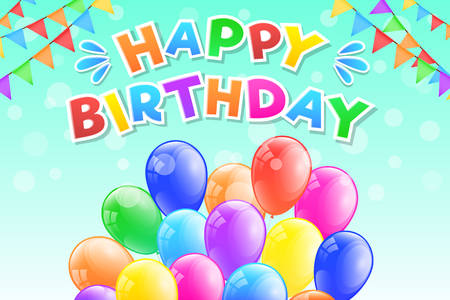Happy Birthday - greeting card with bunch of colourful balloons. Vector.