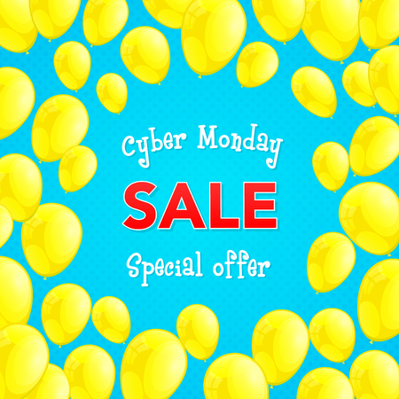 Cyber Monday Sale - shiny banner with balloons. Vector. Illustration