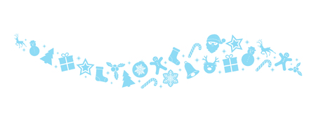 Beautiful Christmas elements - banner with blue decorations. Vector.
