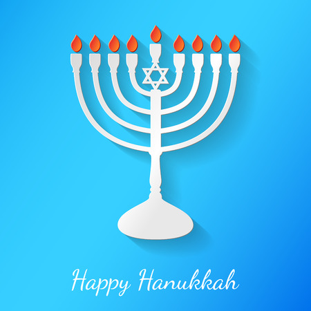Happy Hanukkah - banner with menorah made of paper. Vector. Illustration