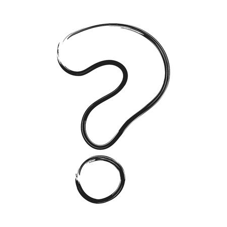 Hand drawn question mark - icon. Vector.
