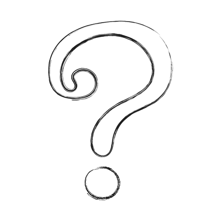 Hand drawn question mark - icon. Vector.