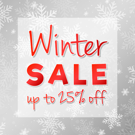 Winter Sale - glossy card with decoration. Vector.
