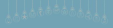 Palle di Natale disegnate a mano con icone carine. Vettore.