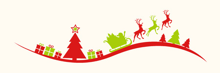 Panoramic header with Christmas decoration. Vector.