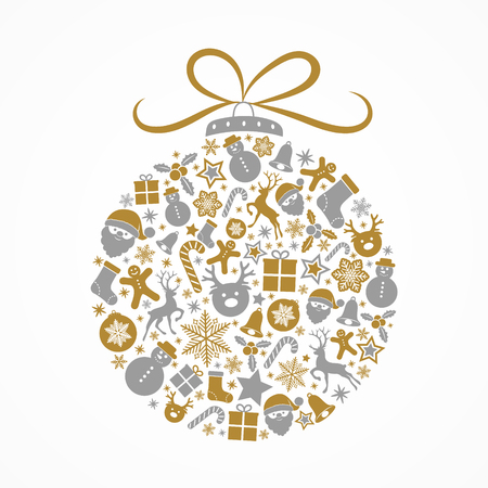 Christmas ball made of silver and gold decorations. Vector.