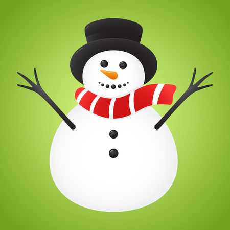 Happy Snowman on green background. Vector.
