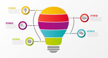 Infografía de negocios - bombilla con pasos definidos. Vector.