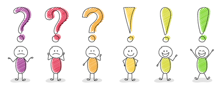 Set of multicoloured cartoon stickmen with question and exclamation mark icons. Vector.