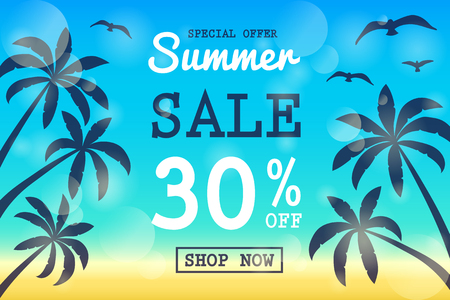 Multicolored banner with tropical palms for Summer Sale. Vector.