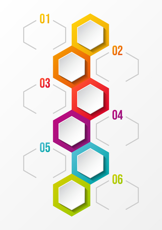 Design of empty infographic layout with hexagonal icons. Vector. Illustration