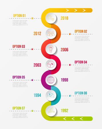 Cronología de la empresa colorida con iconos redondos de negocios. Vector.
