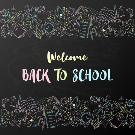 Ritorno a scuola - simpatico poster con elementi disegnati a mano. Vettore.