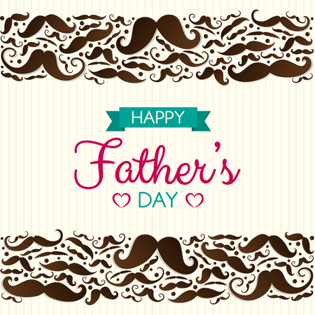 Father's Day - poster with funny mustaches. Vector. Ilustração