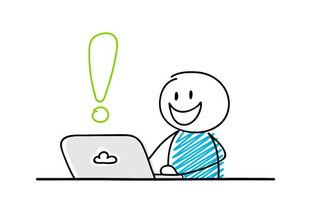 Funny stickman working on laptop - concept with exclamation point icon. Vector.