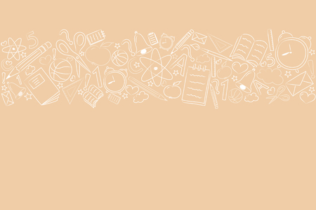 Design of a banner for school sale with cute doodles. Vector.