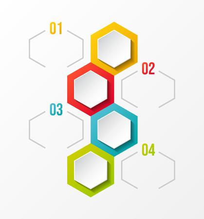 Design of empty infographic layout with hexagonal icons. Vector. Illusztráció