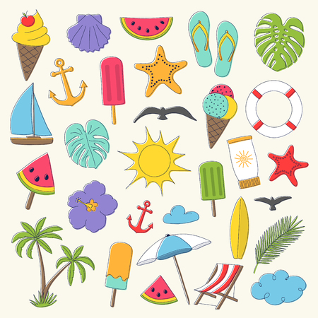 Vintage summer icons - big colourful collection. Vector.