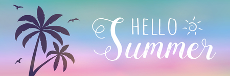 Summer vacations - banner with tropical palms. Vector. 일러스트
