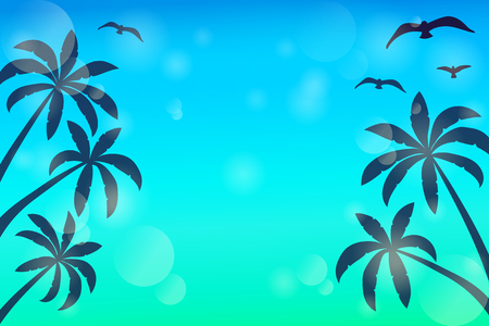 Shiny template with palms and seagulls. Summer concept. Vector. Illustration