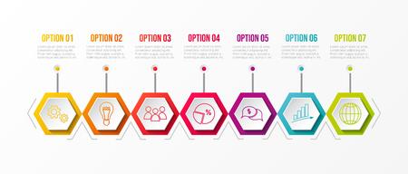 Colourful timeline with business icons. Vector. Illusztráció