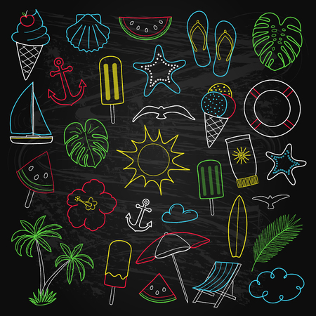Collection of colourful hand drawn icons on blackboard. Vector.