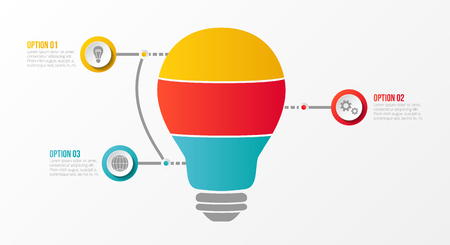 Business infograph - bulb with definied steps. Vector. Illustration