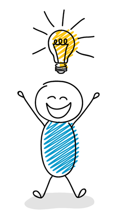Icono de bombilla con stickman divertido - concepto de negocio. Vector.