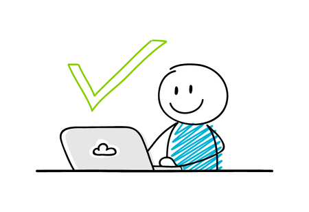 Funny stickman working on laptop - concept with check mark icon. Vector. Ilustracja