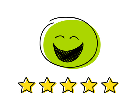 Rating icon - five stars. Green coloured happy stickman. Vector.