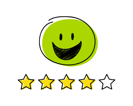 Rating icon - four stars. Green coloured happy stickman. Vector. Illustration