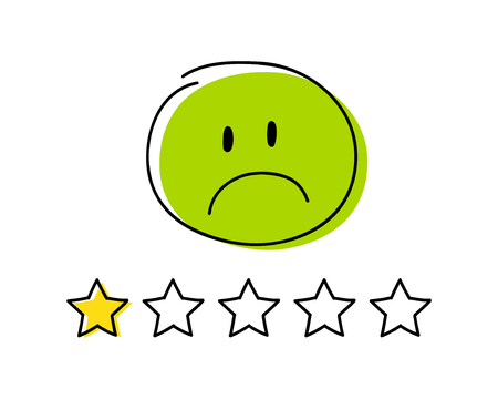 Rating icon - one star. Happy green coloured  stickman. Vector.